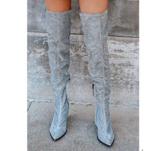 Silver Pointed-Toe Over The Knee Boots